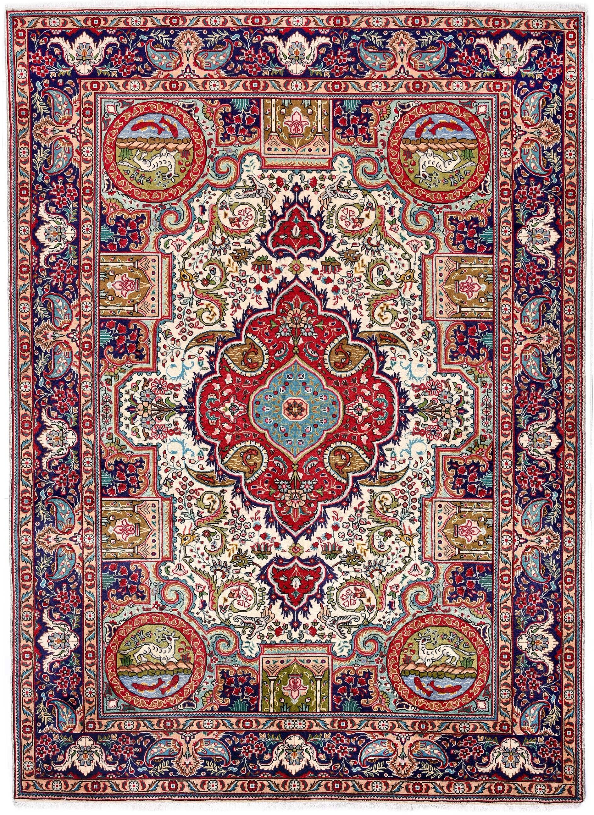 Blue Tabriz Rug Persian Carpet
