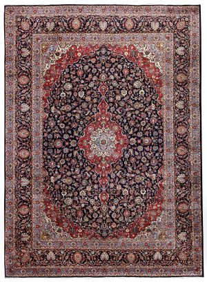 Dark-Blue-Kashan-Rug-Persian-carpet-for-sale-3x4m-DR375