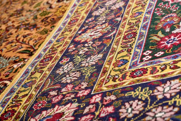 Gold Tabriz Rug, Yellow Persian carpet for sale 2x3m DR401-