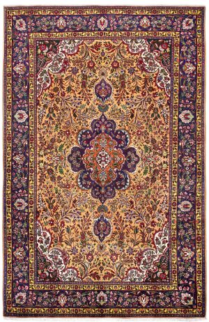 Golden Tabriz Rug, Gold Persian carpet for sale 2x3m DR401