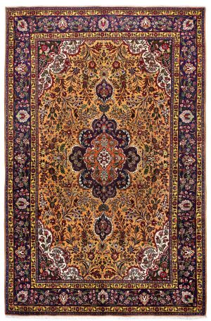 Golden Tabriz Rug, Gold Persian carpet for sale 2x3m DR402