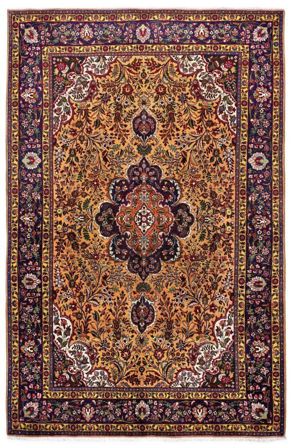 Golden Tabriz Rug, Gold Persian carpet for sale 2x3m DR402