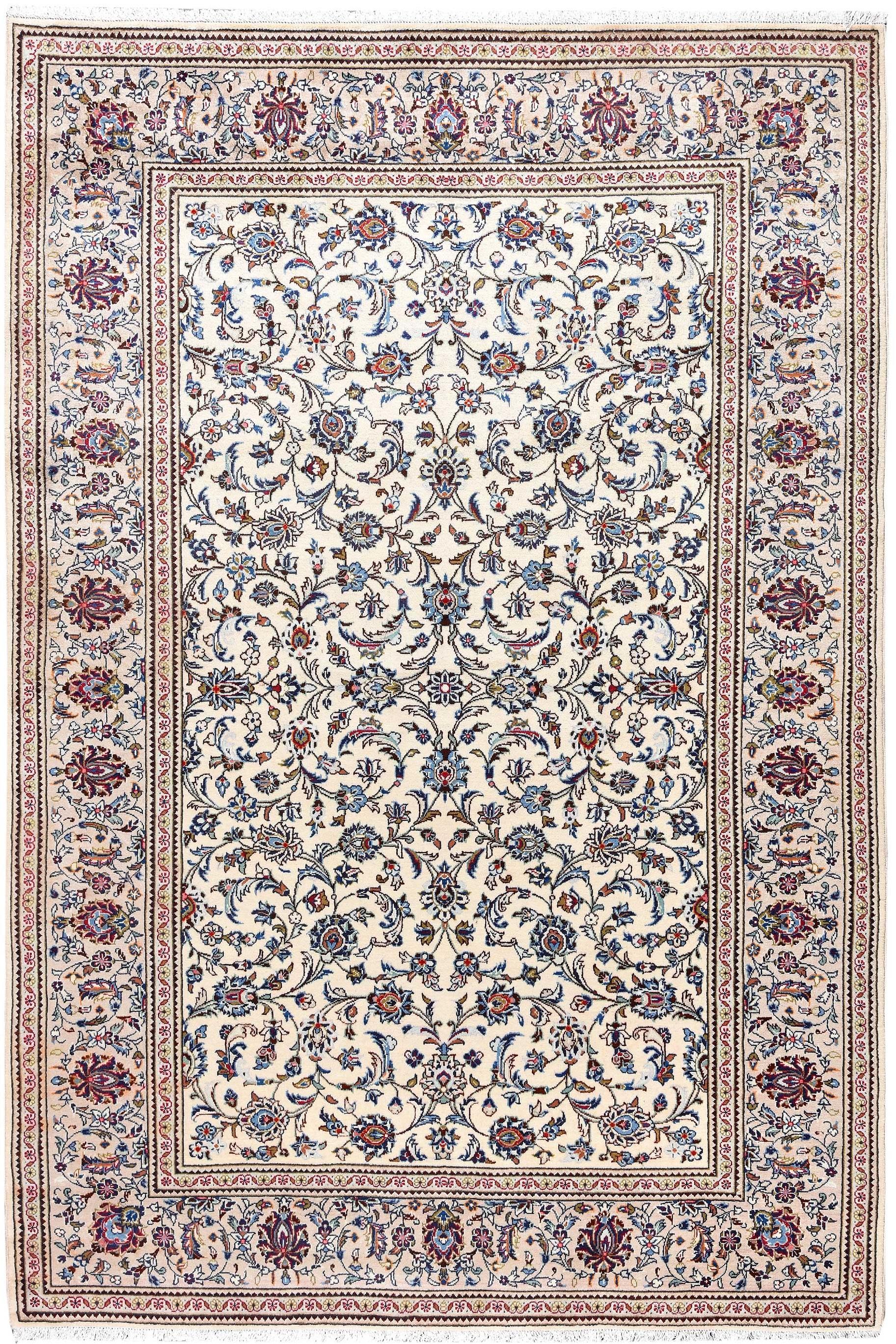 Ivory Beige Kashan Rug Persian Carpet
