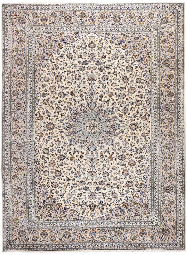 Kashan Rug, Cream Persian carpet for sale 3x4m DR377-7028