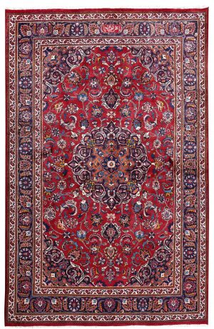 2x3m Hand-knotted Red Mashad Carpet for sale DR453-454-5389
