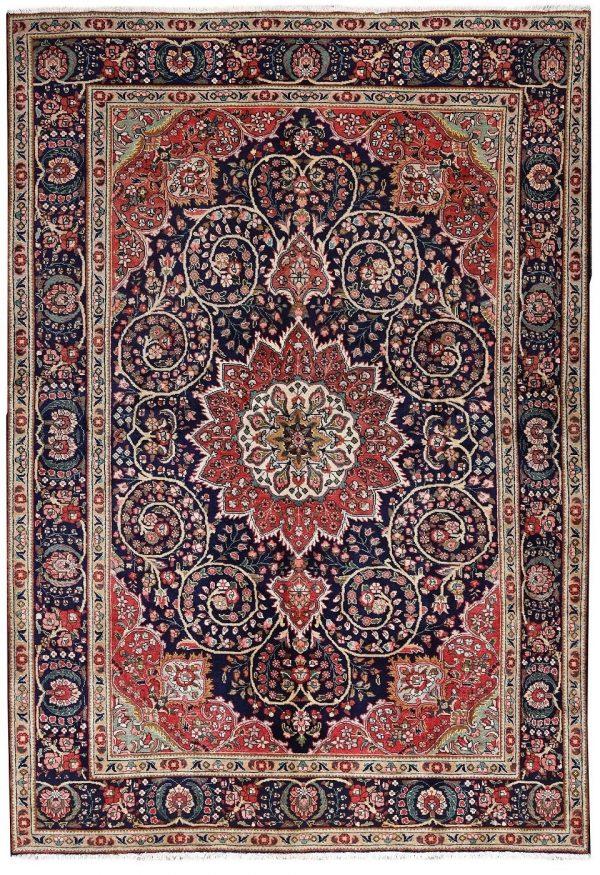 unique-persian-blue-carpet-tabriz-blue-rug-dr460-5510 e