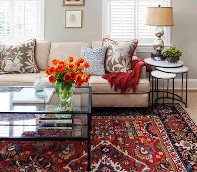 Decorating with handmade Persian red rug
